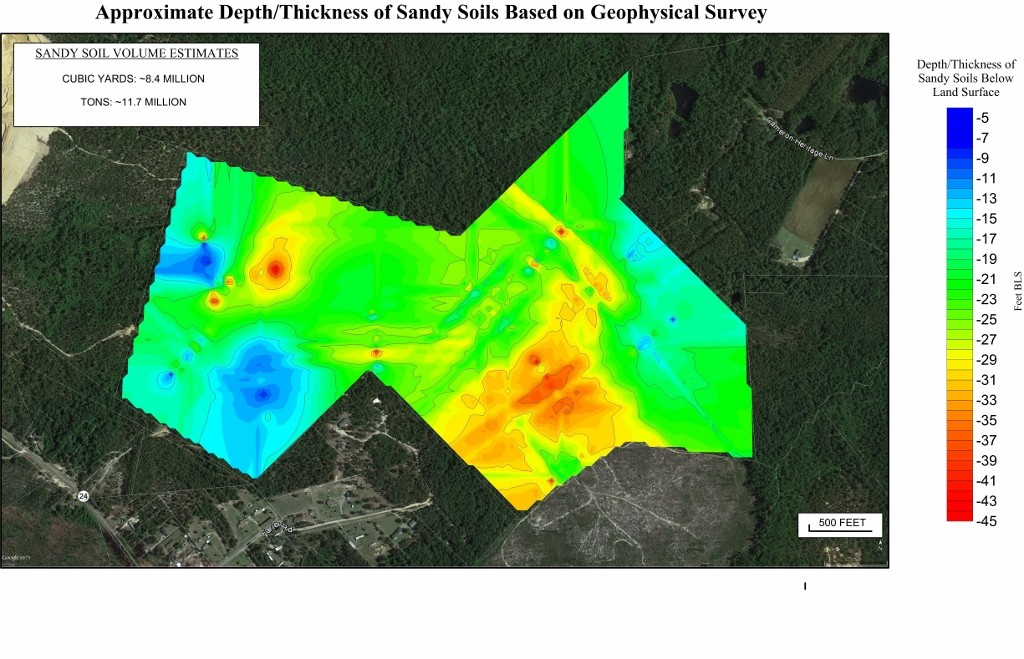 Depth to sand from resistivity