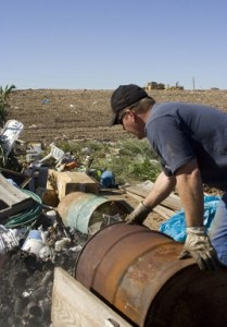 Identify elements buried in landfills