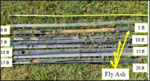 Approximately 19 feet of ash material recovered from within the zone of highest conductivity observed in the geophysical results.