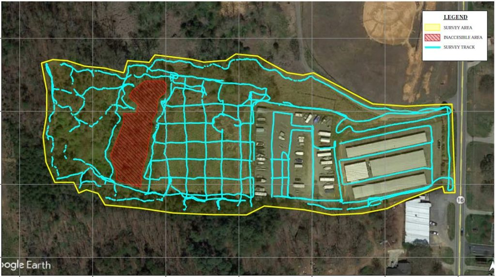 A typical data track for a landfill survey.